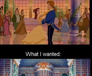 beauty and the beast, reading, and belle image