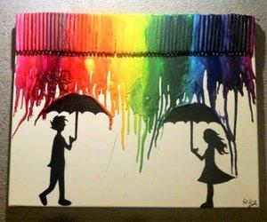 art, colors, and rain image