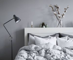 bedroom, home, and grey image