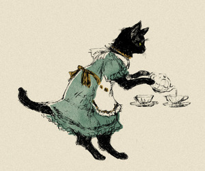 cat, maid, and art image