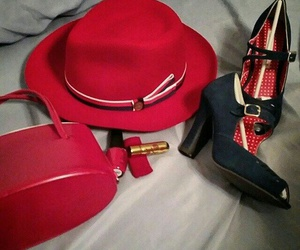 bag, hat, and red image
