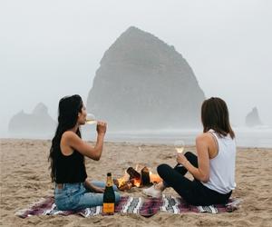 ocean, beach, and wine image