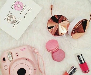 girly, pink, and doghnuts image