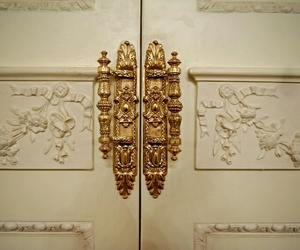 door, gold, and white image