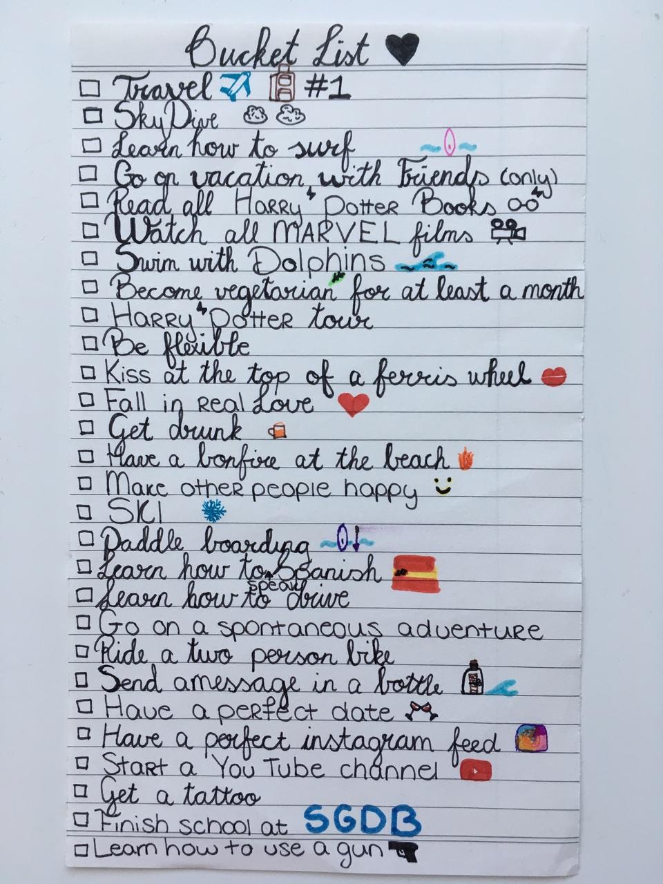 Bucket list before i finish high school on We Heart It