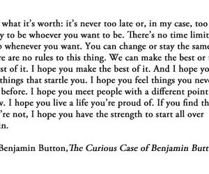 quote, life, and benjamin button image