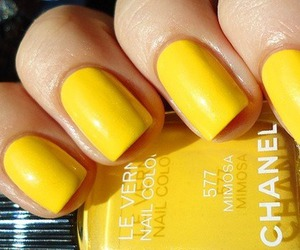 nails, yellow, and chanel image