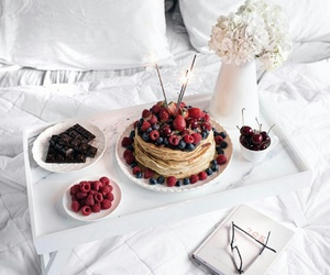 bed, berries, and chocolate image