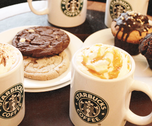 starbucks, coffee, and cake image