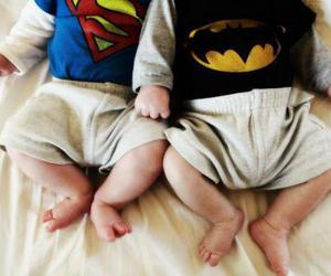baby, batman, and superman image