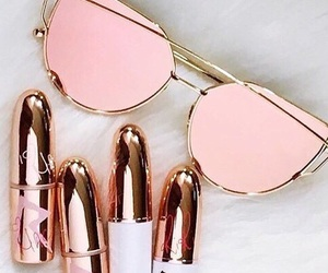 pink, lipstick, and sunglasses image