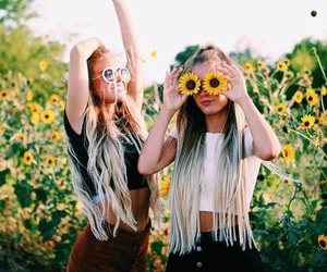 girl, flowers, and friends image