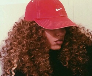 girl, curly hair, and nike image