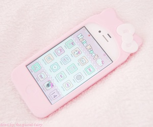 pink, hello kitty, and iphone image