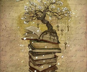 book, art, and tree image