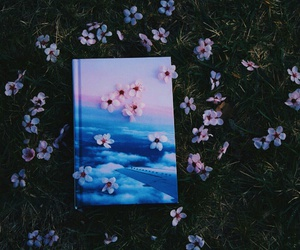 blue, book, and flowers image
