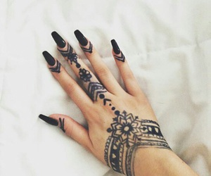 nails, henna, and black image