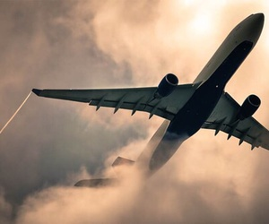airplane, sky, and travel image