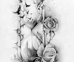 tattoo, bird, and rose image
