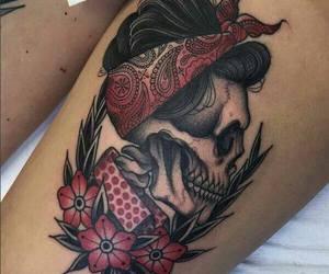 tattoo, bandana, and skull image