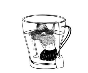girl, tea, and drawing image
