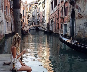 girl, thinking, and venise image