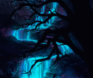 waterfall, blue, and night image