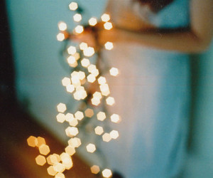 girl, lights, and sparkles image