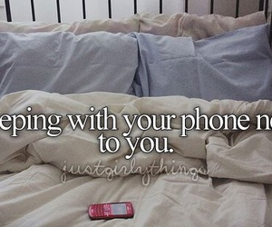 phone, bed, and quote image