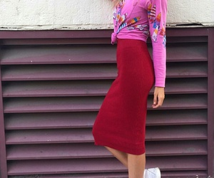 white sneakers, straight blonde hair, and red pencil skirts image