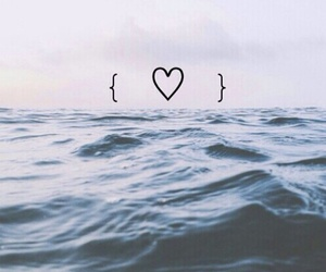 heart, sea, and ocean image