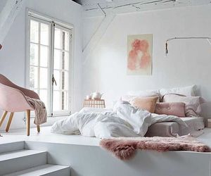 bed, decor, and pink image
