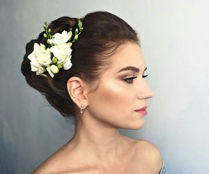 hair, make up, and wedding image