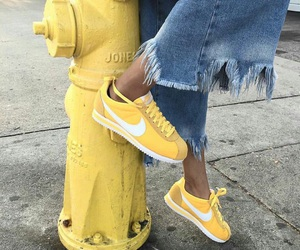 yellow, nike, and shoes image