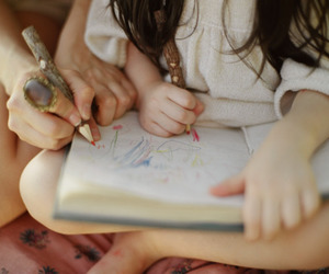 daughter, drawing, and mom image