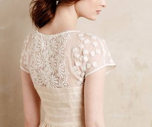 dress, embroidery, and ivory image