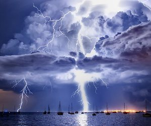 storm, lightning, and clouds image