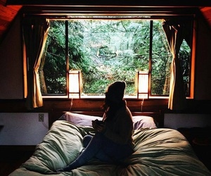 chill, forest, and girl image