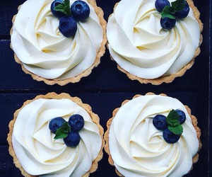 blueberries, cream, and cupcakes image
