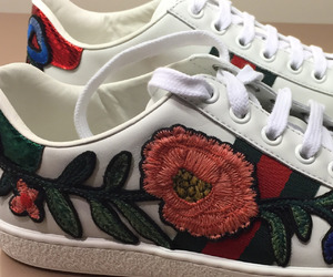 shoes, gucci, and flowers image