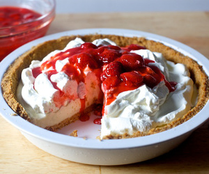 cheesecake, strawberry, and whipped cream image