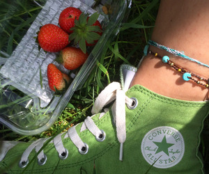 green, converse, and strawberries image