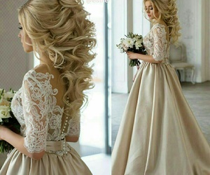 dress, wedding, and hair image