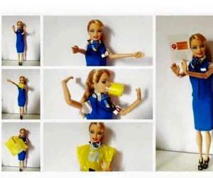 barbie, flight attendant, and demostration image
