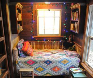 room, bed, and books image