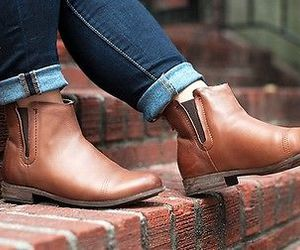 boots, brown boots, and college image