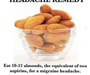 headache, almond, and food image