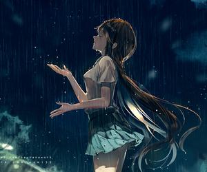 anime girl, rain, and anime image