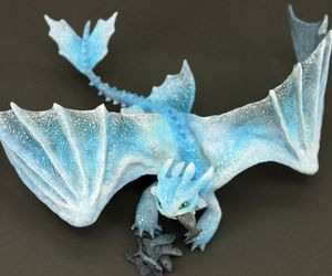 albino, blue, and dragon image