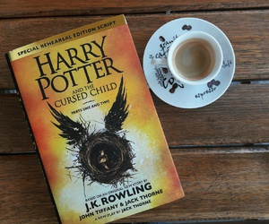 books, coffee, and harry potter image